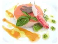 Petit tartare d'itoryori, anguille fumee, tomate, truffe, avocat et crabe  facon chefrolland okinawa